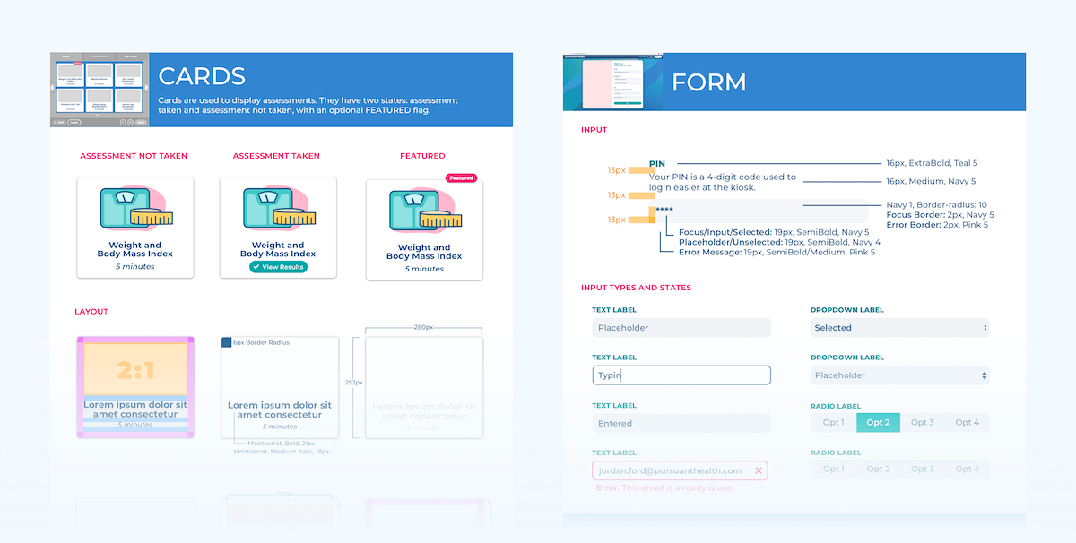 Styleguide example with buttons, colors, form elements, and text components